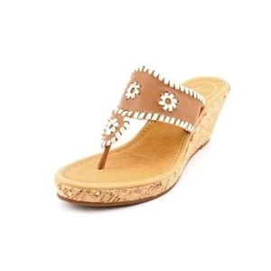 Jack Rogers Tan Cork Wedge Marbella Wedge Sandals